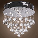 5 Light Crystal Flush Mount Light in Chrome Finish with Murano Glass - 371547