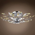 6 Light Semi Flush Mount in Chrome Finish with Golden Teak and Clear Crystals - 371574