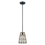 1 Light Mini Pendant with Rope Cage Accent with Frosted Glass - 372049