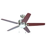 Polished Nickel Ceiling Fan with Blades & Light Kit - 372255