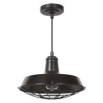1 Light Aged Bronze Mini Pendant with Metal Shade - 372271