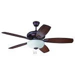 Oiled Bronze Ceiling Fan with Blades and Light Kit - 372293
