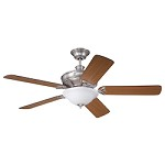 Polished Nickel Finish Ceiling Fan with Blades and Light Kit - 372296
