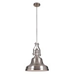 1 Light Pendant with Metal Shade and Tarnished Silver Finish - 372301