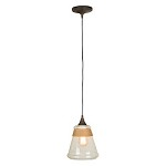 1 Light Pendant with Glass and Rope Shade - 372334