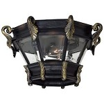 Three Light Gold Outdoor Flush Mount - 372361