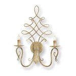Antique Silver Regiment Wall Sconce with Customizable Shades