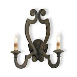 Bronze Verdigris Retrospect Wall Sconce with Customizable Shades