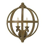 Chestnut Axel 2 Light Wall Sconce with Wooden Orb