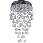 7 Light Round Shape Pendant Chandelier Light in Chrome Finish with Crystal - Joshua Marshal 700063-001