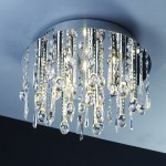 16 Light Round Shaped Crystal Flush Mount Light in Chrome Finish with Crystal - Joshua Marshal 700076-001