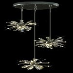 12 Light Adjustable Hanging Pendant Light in Chrome Finish with Clear Crystal - Joshua Marshal 700077-001