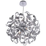 15 Light Crystal Ribbon Pendant Chandelier Light in Chrome Finish with Crystal - Joshua Marshal 700086-001