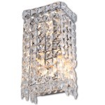 3 Light Crystal Wall Sconce Light in Chrome Finish with Clear Crystals  - Joshua Marshal 700091-001