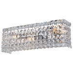 3 Light Crystal Wall Sconce Light in Chrome Finish with Clear Crystals - Joshua Marshal 700093-001