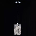 1 Light Round Shape Crystal Mini Pendant Light in Chrome Finish with Crystal - Joshua Marshal 700104-001