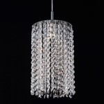 1 Light Round Shape Crystal Mini Pendant Light in Chrome Finish with Crystal - Joshua Marshal 700105-001
