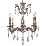 Classique 6 Light Crystal Chandelier Light Fixture in Sierra Bronze Finish with Clear European Tear Drop Crystals - Joshua Marshal 700116-005