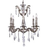Classique 6 Light Crystal Chandelier Light Fixture in Pewter Finish with Clear European Tear Drop Crystals - Joshua Marshal 700116-013