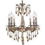 Classique 8 Light Crystal Chandelier Light Fixture in Sierra Bronze Finish with Golden Teak French Cut Crystals - Joshua Marshal 700117-004