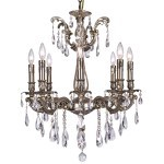 Classique 8 Light Crystal Chandelier Light Fixture in Sierra Bronze Finish with Swarovski Spectra Tear Drop Crystals - Joshua Marshal 700117-007