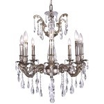 Classique 8 Light Crystal Chandelier Light Fixture in Pewter Finish with Clear Swarovski Spectra Tear Drop Crystals - Joshua Marshal 700117-015