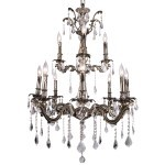 Classique 12 Light Crystal Chandelier Light Fixture in Sierra Bronze Finish with Clear Swarovski Spectra French Cut Crystals - Joshua Marshal 700119-003