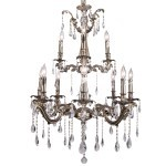 Classique 12 Light Crystal Chandelier Light Fixture in Sierra Bronze Finish with Swarovski Spectra Tear Drop Crystals - Joshua Marshal 700119-007