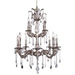Classique 12 Light Crystal Chandelier Light Fixture in Pewter Finish with Clear Swarovski Spectra French Cut Crystals - Joshua Marshal 700119-011