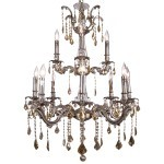 Classique 12 Light Crystal Chandelier Light Fixture in Pewter Finish with Golden Teak French Cut Crystals - Joshua Marshal 700119-012