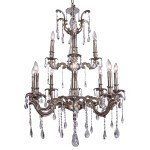 Classique 12 Light Crystal Chandelier Light Fixture in Pewter Finish with Clear Swarovski Spectra Tear Drop Crystals - Joshua Marshal 700119-015