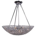 8 Light Bowl Pendant Light in Chrome Finish with Clear Crystal - Joshua Marshal 7018-001