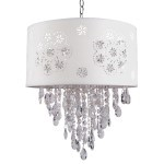 1 Light Crystal Pendant Light in Chrome Finish with White Shade and Crystal - Joshua Marshal 7033-001