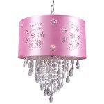 1 Light Crystal Pendant Light in Chrome Finish with Pink Shade and Crystal - Joshua Marshal 7034-001