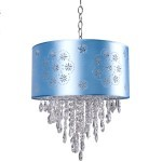 1 Light Crystal Pendant Light in Chrome Finish with Baby Blue Shade and Crystal - Joshua Marshal 7036-001