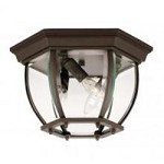 Three Light Clear Beveled Glass Bronze Outdoor Flush Mount - Savoy House 07038-BZ