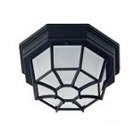 One Light Black Frosted Glass Outdoor Flush Mount - Savoy House 07065-BLK