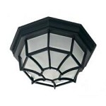 One Light Black Frosted Glass Outdoor Flush Mount - Savoy House 07066-BLK