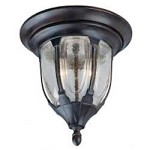 Two Light Bark & Gold Clear Seeded Glass Outdoor Flush Mount - Savoy House 5-1505-52
