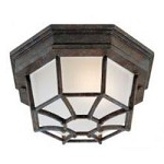 One Light Frosted Glass Rustic Bronze Outdoor Flush Mount - Savoy House 5-2066-72