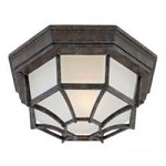 One Light Frosted Glass Rustic Bronze Outdoor Flush Mount - Savoy House 5-2067-72