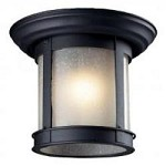 One Light Black Clear Seedy Glass Outdoor Flush Mount - Z-Lite 514F-BK