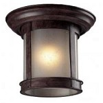 One Light Weathered Bronze Clear Seedy Glass Outdoor Flush Mount - Z-Lite 514F-WB
