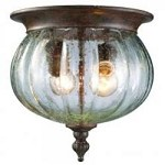 Two Light Weathered Bronze Clear Seedy Glass Outdoor Flush Mount - Z-Lite 516F-WB