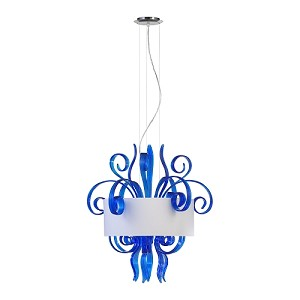 "Jellyfish 6-Light 29"" Blue Blown Glass Cassina Pendant with A White Dupioni Shade 04396"