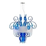 "Jellyfish 8-Light 39"" Blue Blown Glass Cassina Pendant with A White Dupioni Shade 04397"