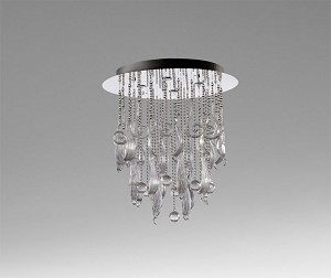 "Mirabelle Collection 4-Light 34"" Chrome Flush Mount with Clear Glass 04667"