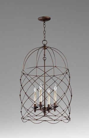 "Bird Cages Collection 4-Light 31"" Oiled Bronze Wrought Iron Pendant 04756"
