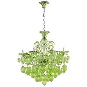 "Bella Vetro 8-Light 36"" Green Blown Glass Chianti Chandelier 05205"