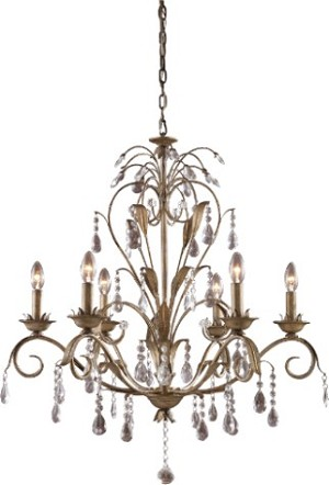 "Angelite Collection 6-Light 33"" Weathered Silver Bronze Crystal Chandelier 08086-WS"
